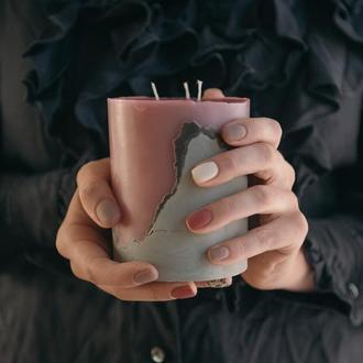 "Бетонная свеча ""Живой коралл"" / свеча на бетоне"