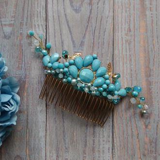 Розкішний гребінець для волосся голубий кришталь