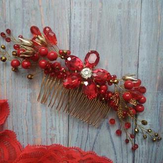 Гребінець для волосся червоний кришталь стрази намистинки листочки
