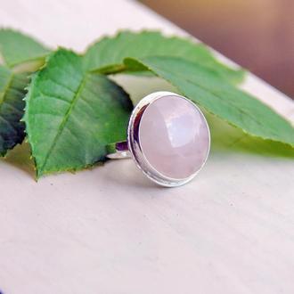 Серебряное кольцо с розовым кварцем, крупное серебряное кольцо, серебряное кольцо с камнями