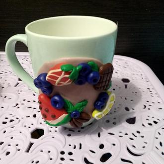 Чашки, ложки с декором из полимерной глины