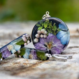 Комплект украшений из смолы и цветов (летние украшения, подарок девушке)