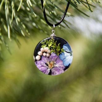 Кулон с цветами (кулон с гортензией, синий кулон)