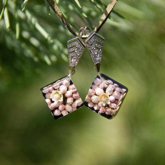 Серьги с цветами (яркие сережки, летние украшения, экоукрашения)