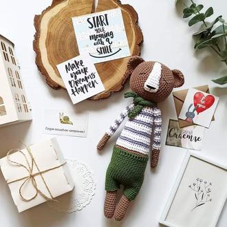 Мишка вязаная игрушка подарок малышу
