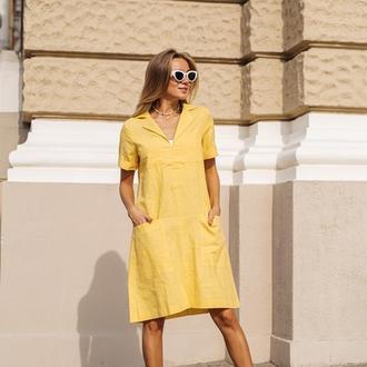 Платье из льна Avrora, цвет желтый