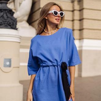 Платье из льна  Miranda цвет небесно-голубой