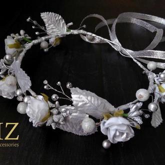 Серебристый венок на голову цветы хрусталь