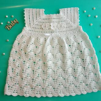 Вязаное детское платье. Платье на крестины