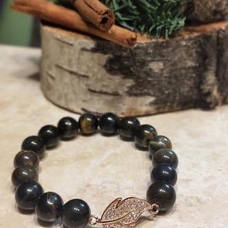 Браслет из натуральных камней, браслет из соколиного глаза, браслет из тигрового глаза, подарок