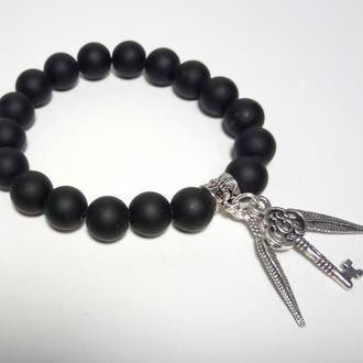 Шунгитовый браслет из натурального камня, цвет черный, с подвесками, тм Satori \ Sb - 0024