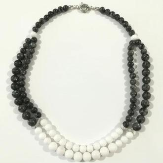 Колье двойное из Лабрадора и Перламутра, натуральный камень, цвет белый, серый \ Sk - 0020