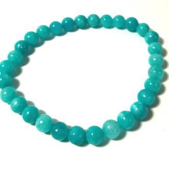 Браслет из натурального камня Аквамарин, цвет голубой и его оттенки, тм Satori \ Sb - 0026