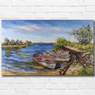 """Картина маслом """"Рыбацкие лодки"""" 30х50 см, холст на подрамнике, масло"""