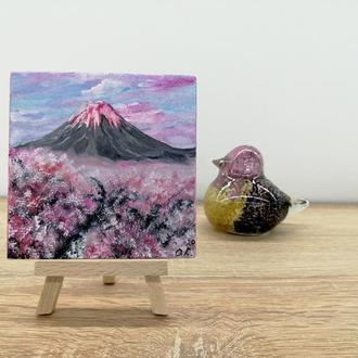 Миниатюра-магнит розовый вулкан, Пейзаж вулкан, Оригинальный подарок