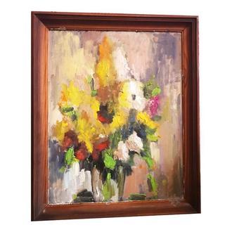 картина маслом, в рамке, цветы