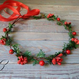 Рождественский красный венок на голову с ягодами украшение на голову для фотосессии