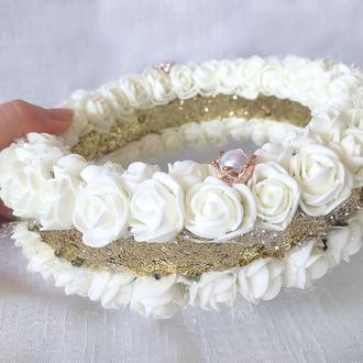 Свадебная подушечка круглая блестящее кольцо LA BEAUTY Studio