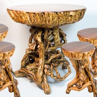 Столик и 4 стула деревянные резные