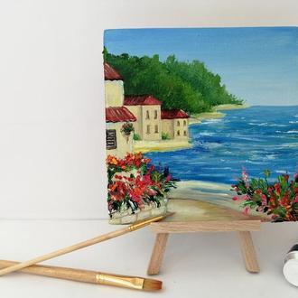 Миниатюра маслом побережье Италии, Городской пейзаж, Красивый пейзаж, Итальянский пейзаж