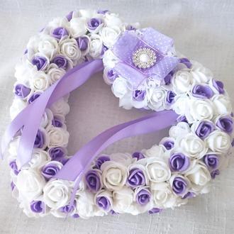 Свадебная подушечка для обручальных колец сердце из роз сиреневая LA BEAUTY Studio Эксклюзив