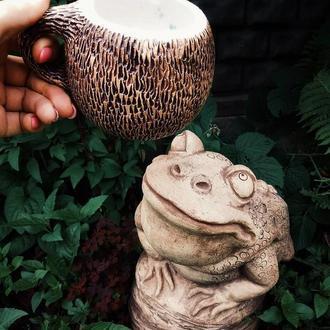 Керамическая гончарная чашка-кокос