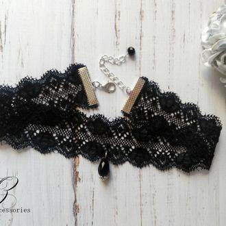Кружевное черное колье чокер подвеска хрусталь