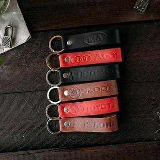 Кожаный брелок, брелоки с именем, любой надписью, именной подарок, тиснение