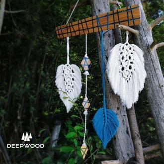 Дерев'яне панно з макраме, бохо декор