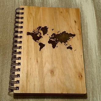 Блокнот в деревянной обложке