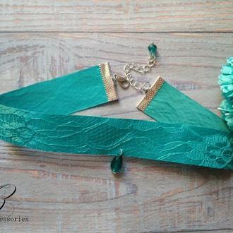Бирюзовое колье чокер атласная лента с гипюром подвеска хрусталь