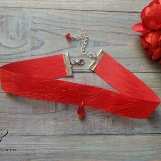 Красное колье чокер атласная лента с гипюром подвеска хрусталь