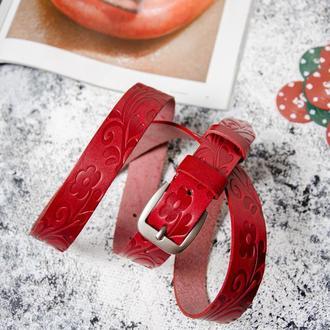 Женский кожаный ремень, Красный ремень с подарочной коробкой, Кожаный ремень, Красный ремень