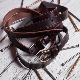 Коричневый узкий кожаный ремень, Кожаный ремень женский, Кожаный ремень, Женский кожаный ремень