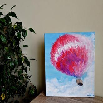 Картина маслом Повітряна куля, Інтер'єрна картина, Красиве небо, Картина абстракція, Білі хмари