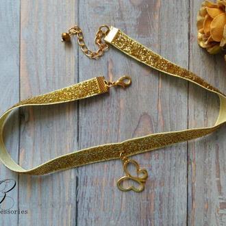 Золотое колье чокер бабочка