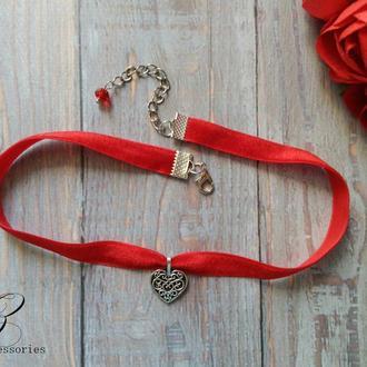 Красное колье чокер сердце