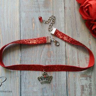 Красное колье чокер корона