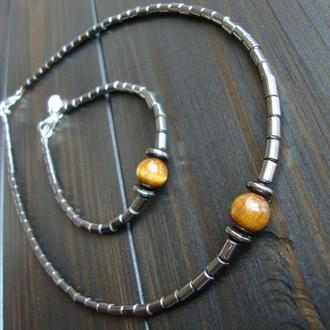 Браслет и чокер из гематита, украшения из натурального камня