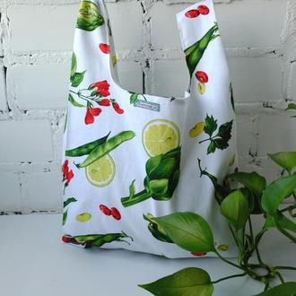 "Эко сумка ""Vegan bag"" , пакет ""маечка"" из ткани, эко торба, авоська, шоппер"