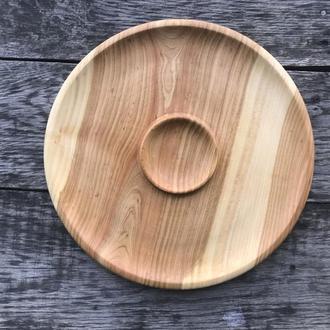 Тарелка деревянная с соусницею D-35см