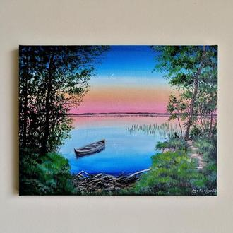 Картина маслом закат на озере, Красивое озеро, Пейзаж лес и озеро, Лодка на озере, Закат в лесу