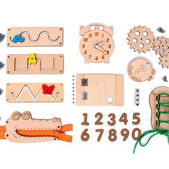 Набор Заготовок для Бизиборда Основные Детали 10в1 Весь Стандартный Комплект (+Клей +Шурупы) Набір