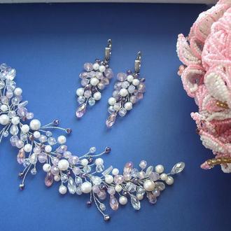 Комплект весільних прикрас,весільні прикраси для нареченої, прикраса для волосся
