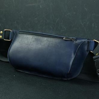 Сумка «Модель №70 мини» с фастексом, кожа Итальянский краст цвет  синий