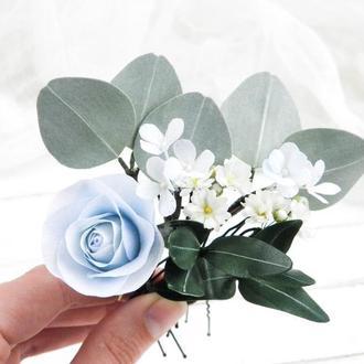 Шпильки для волос с голубыми цветами и эвкалиптом