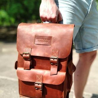 Мужской рюкзак коричневый из натуральной кожи VS 049