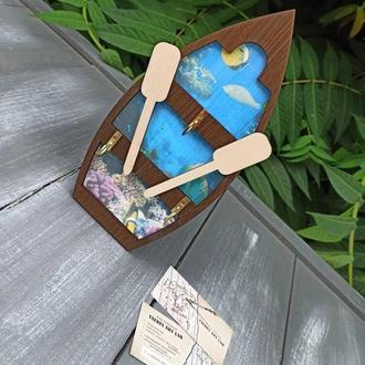 "Деревянная ключница ""Лодка"", настенная ключница"