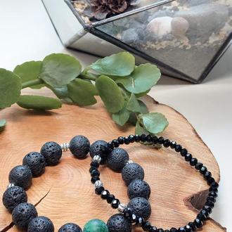 Набір браслетів з натуральних каменів, браслет з агата, лавового каменю, гірського кришталю