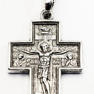Крест серебряный. Распятие Христово Покров Пресвятой Богородицы